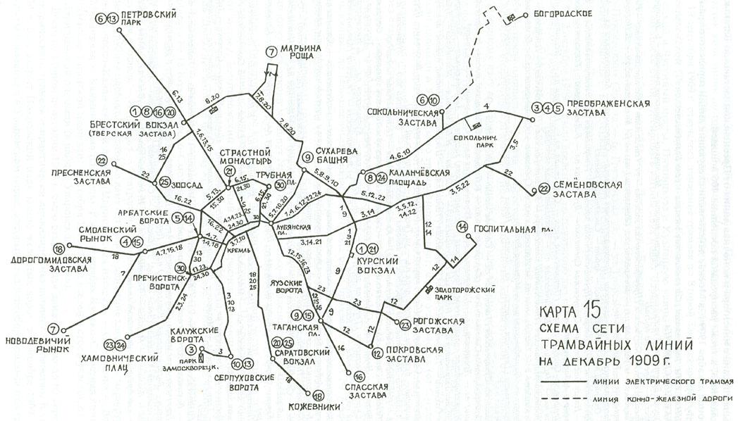 1909: Схема сети трамвайных